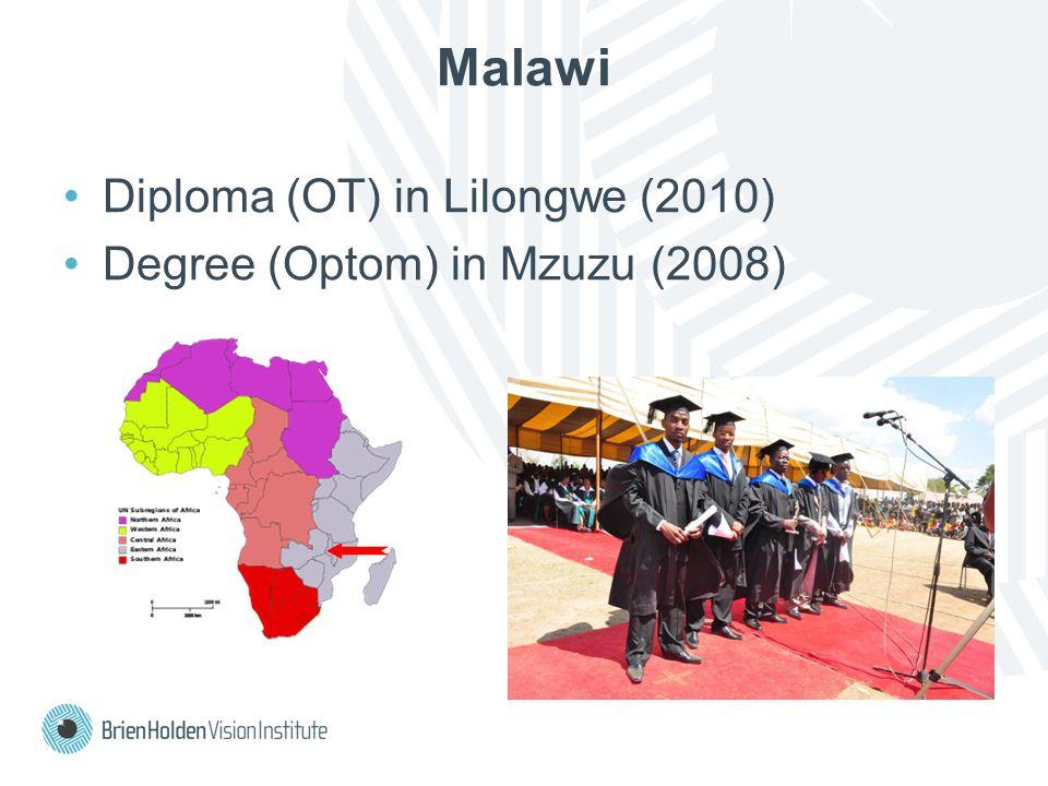 Diploma (OT) in Lilongwe (2010) Degree (Optom) in Mzuzu (2008) Malawi