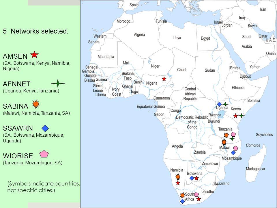 5 Networks selected: AMSEN (SA, Botswana, Kenya, Namibia, Nigeria) AFNNET (Uganda, Kenya, Tanzania) SABINA (Malawi, Namibia, Tanzania, SA) SSAWRN (SA, Botswana, Mozambique, Uganda) WIORISE (Tanzania, Mozambique, SA) (Symbols indicate countries, not specific cities.)