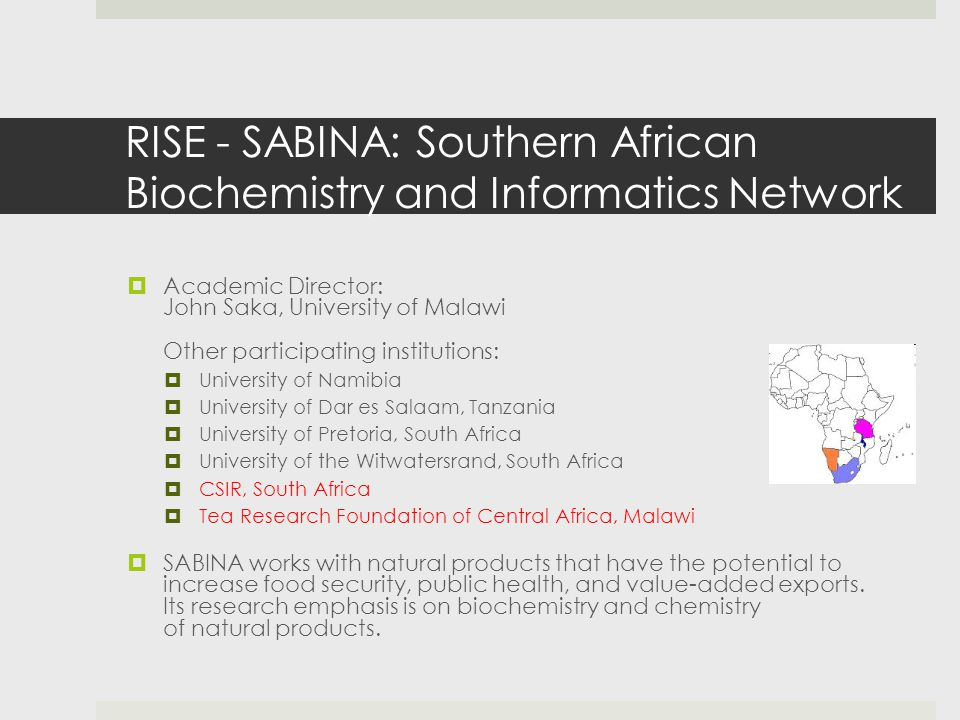 RISE - SABINA: Southern African Biochemistry and Informatics Network  Academic Director: John Saka, University of Malawi Other participating institutions:  University of Namibia  University of Dar es Salaam, Tanzania  University of Pretoria, South Africa  University of the Witwatersrand, South Africa  CSIR, South Africa  Tea Research Foundation of Central Africa, Malawi  SABINA works with natural products that have the potential to increase food security, public health, and value-added exports.