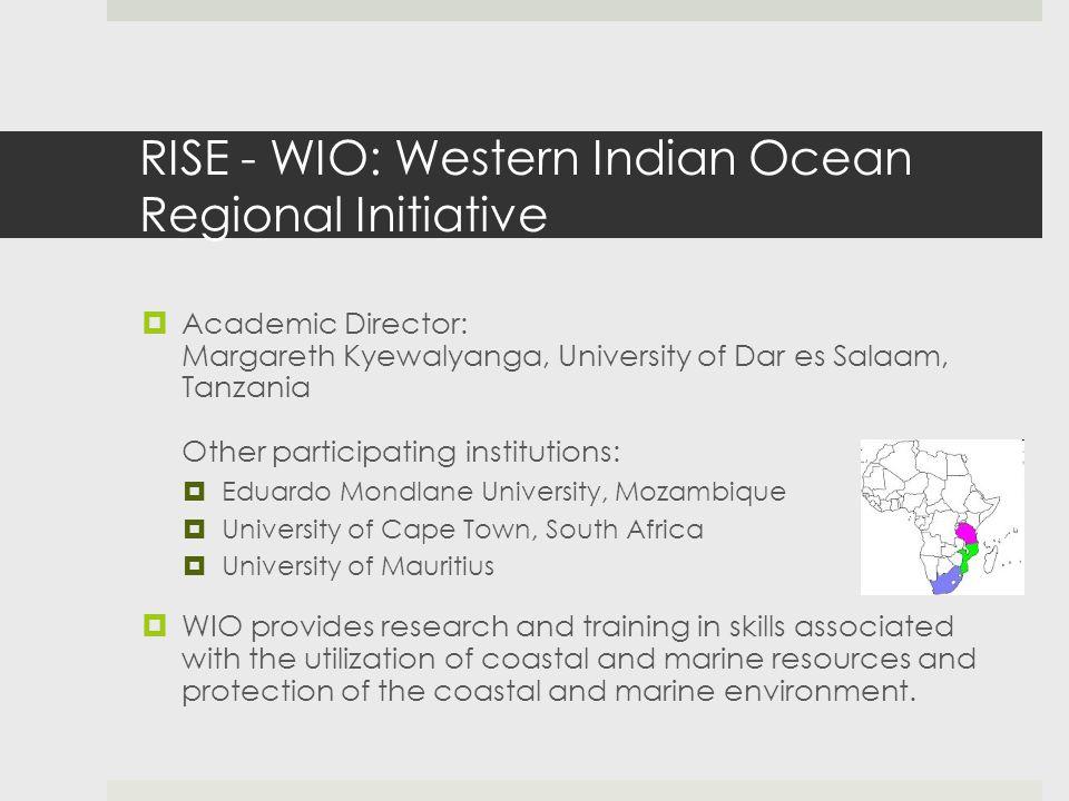 RISE - WIO: Western Indian Ocean Regional Initiative  Academic Director: Margareth Kyewalyanga, University of Dar es Salaam, Tanzania Other participa
