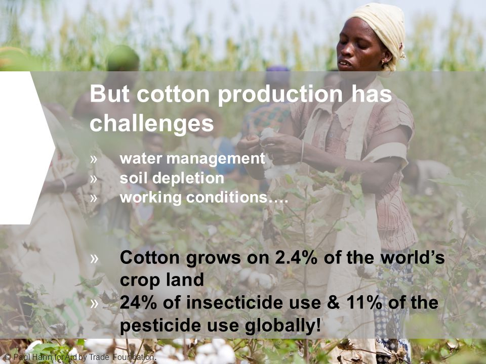 But cotton production has challenges »water management »soil depletion »working conditions….