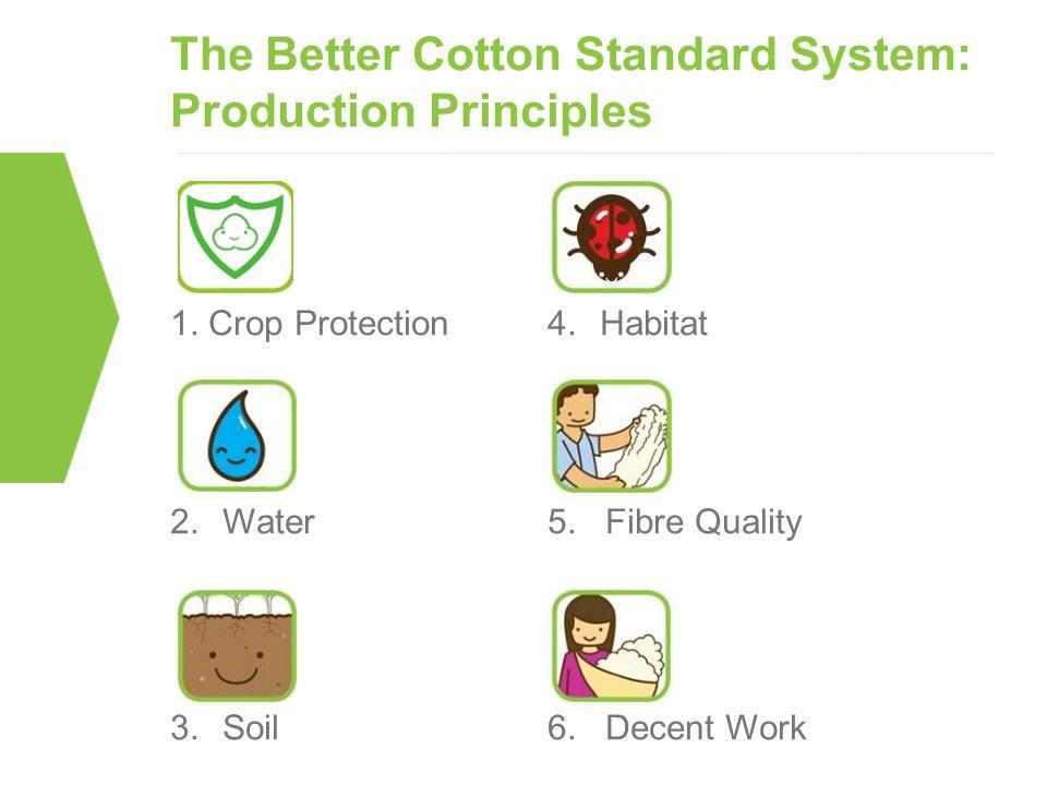 The Better Cotton Standard System: Production Principles 1. Crop Protection 2.Water 3.Soil 4.Habitat 5. Fibre Quality 6. Decent Work