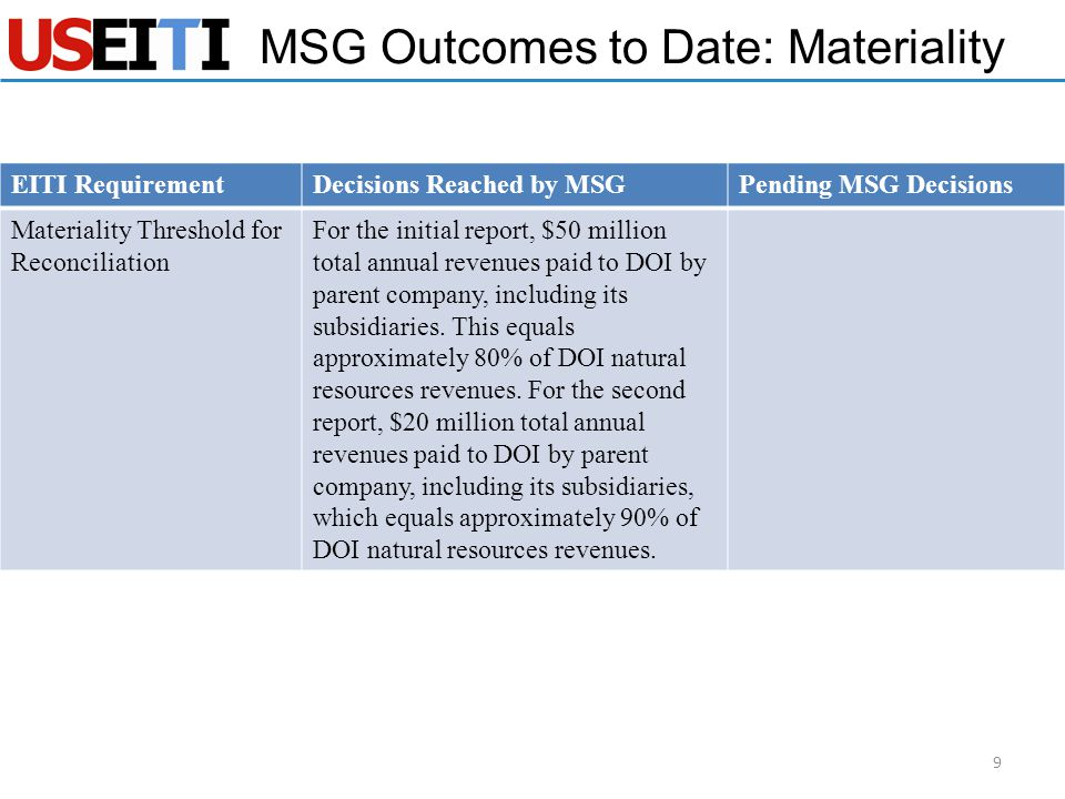 EITI RequirementDecisions Reached by MSGPending MSG Decisions Materiality Threshold for Reconciliation For the initial report, $50 million total annual revenues paid to DOI by parent company, including its subsidiaries.