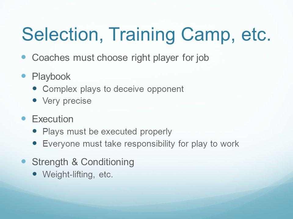 Selection, Training Camp, etc.