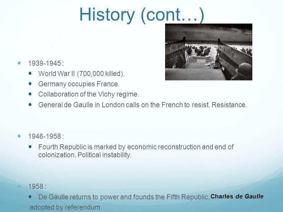 History (cont…) 1939-1945 : World War II (700,000 killed).