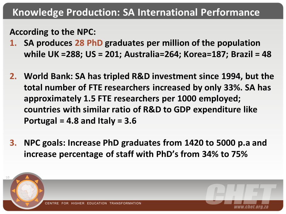 Knowledge Production: SA International Performance 10 According to the NPC: 1.SA produces 28 PhD graduates per million of the population while UK =288