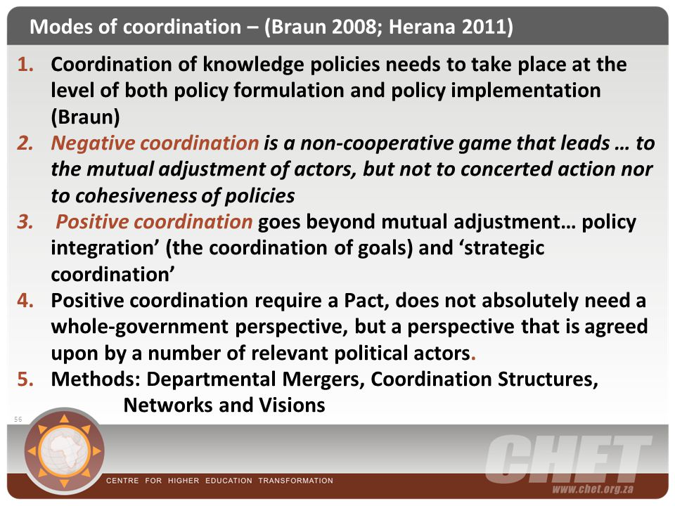 Modes of coordination – (Braun 2008; Herana 2011) 56 1.Coordination of knowledge policies needs to take place at the level of both policy formulation