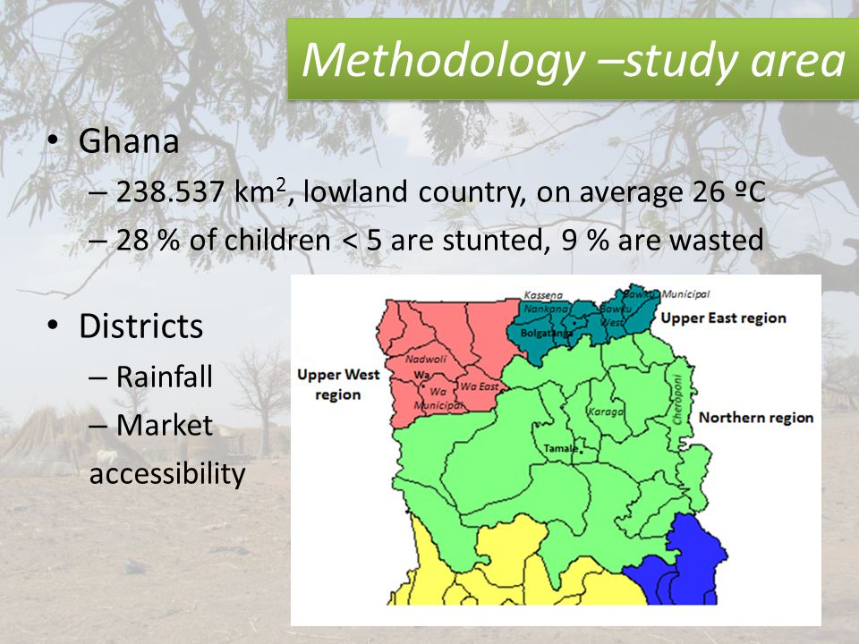 Methodology –study area Ghana – 238.537 km 2, lowland country, on average 26 ºC – 28 % of children < 5 are stunted, 9 % are wasted Districts – Rainfall – Market accessibility