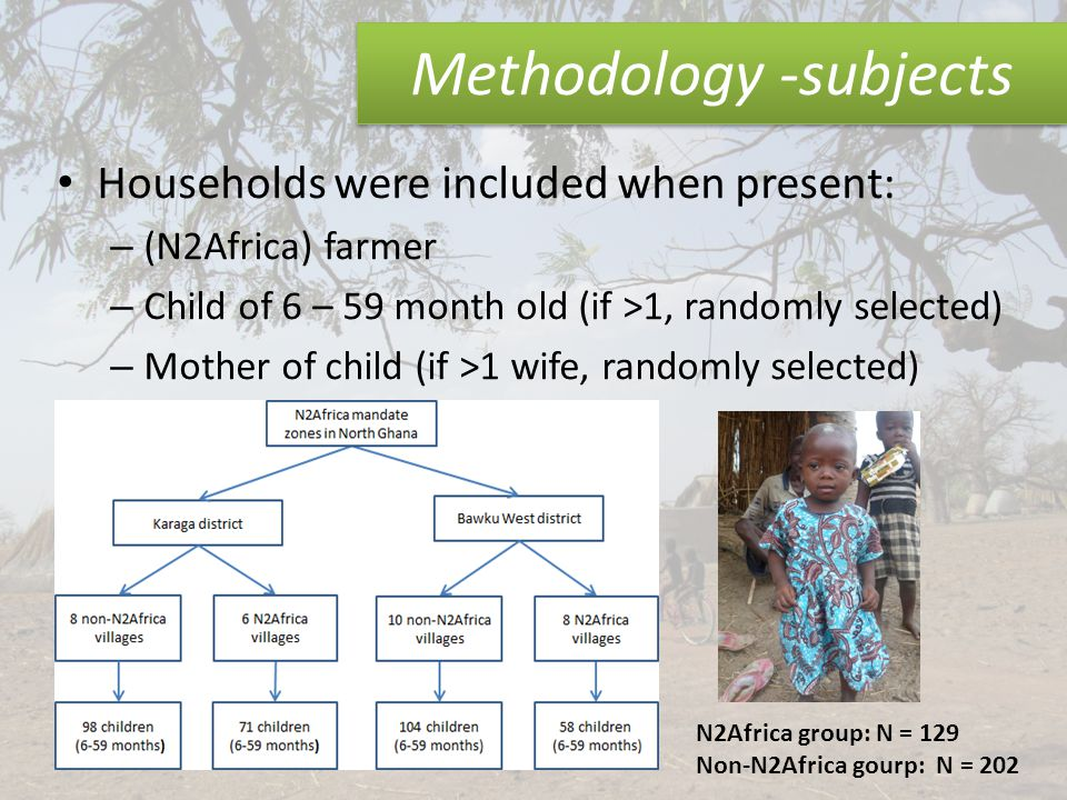 Methodology -subjects Households were included when present: – (N2Africa) farmer – Child of 6 – 59 month old (if >1, randomly selected) – Mother of child (if >1 wife, randomly selected) N2Africa group: N = 129 Non-N2Africa gourp: N = 202
