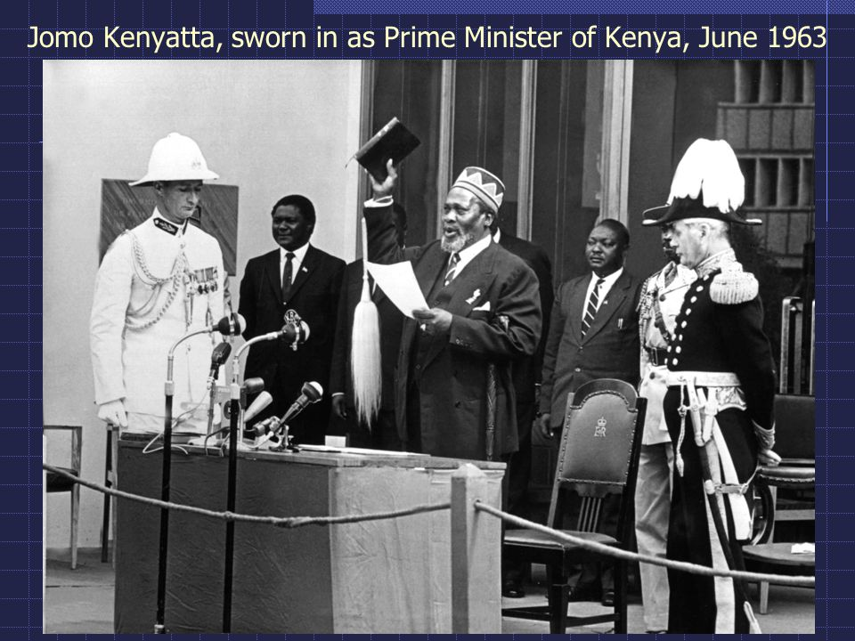 Jomo Kenyatta, sworn in as Prime Minister of Kenya, June 1963