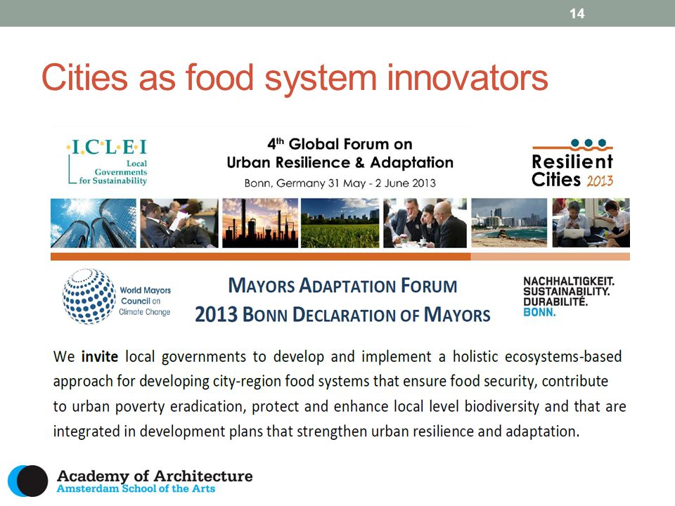 Cities as food system innovators 14