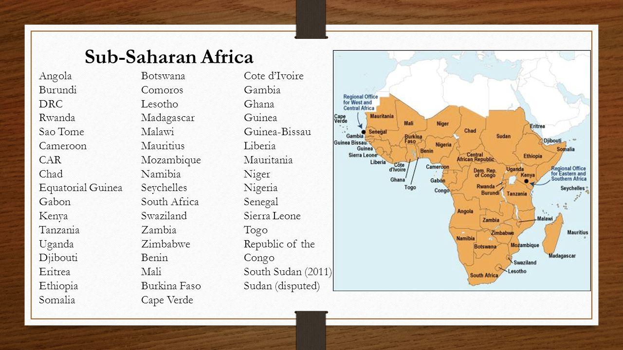 Sub-Saharan Africa Angola Burundi DRC Rwanda Sao Tome Cameroon CAR Chad Equatorial Guinea Gabon Kenya Tanzania Uganda Djibouti Eritrea Ethiopia Somali