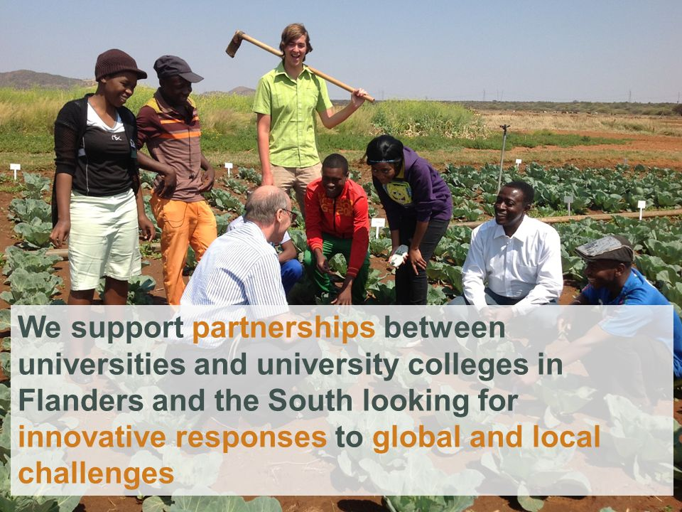 We support partnerships between universities and university colleges in Flanders and the South looking for innovative responses to global and local challenges