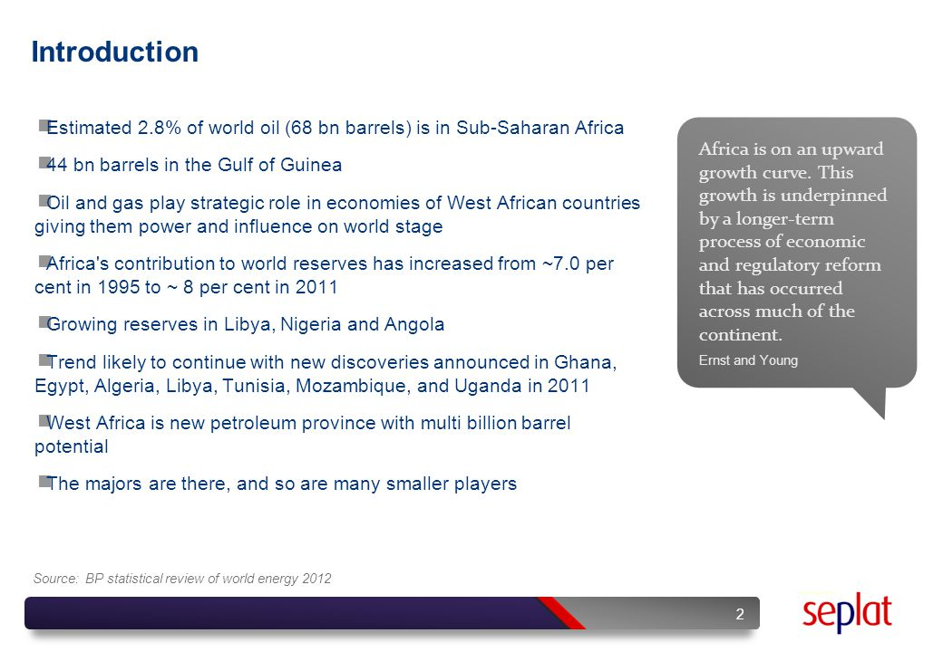 West African Resources 3 Country Commercial Discovery First prod Reserves, 1/1/2012 Oil, BbblsGas, Tcf NIGERIA 1956195837.2180.5 GHANA 200720100.75 MAURITANIA 200120060.11.0 COTE D'IVOIRE 197719800.11.0 CAMEROON 197219770.24.7 EQUATORIAL GUINEA 198419911.71.3 GABON 196219673.71.0 CHAD 197220031.50 CONGO 198419571.93.2 ANGOLA 1955195613.510.9 1 NIGERIA 1 2 3 4 5 6 7 8 9 10 2 GHANA 3 MAURITANIA 4 COTE D'IVOIRE 5 CAMEROON 6 EQUATORIAL GUINEA GABON 7 8 CHAD 9 CONGO 10 ANGOLA Sources: BP Statistical Review 2012 / US EIA