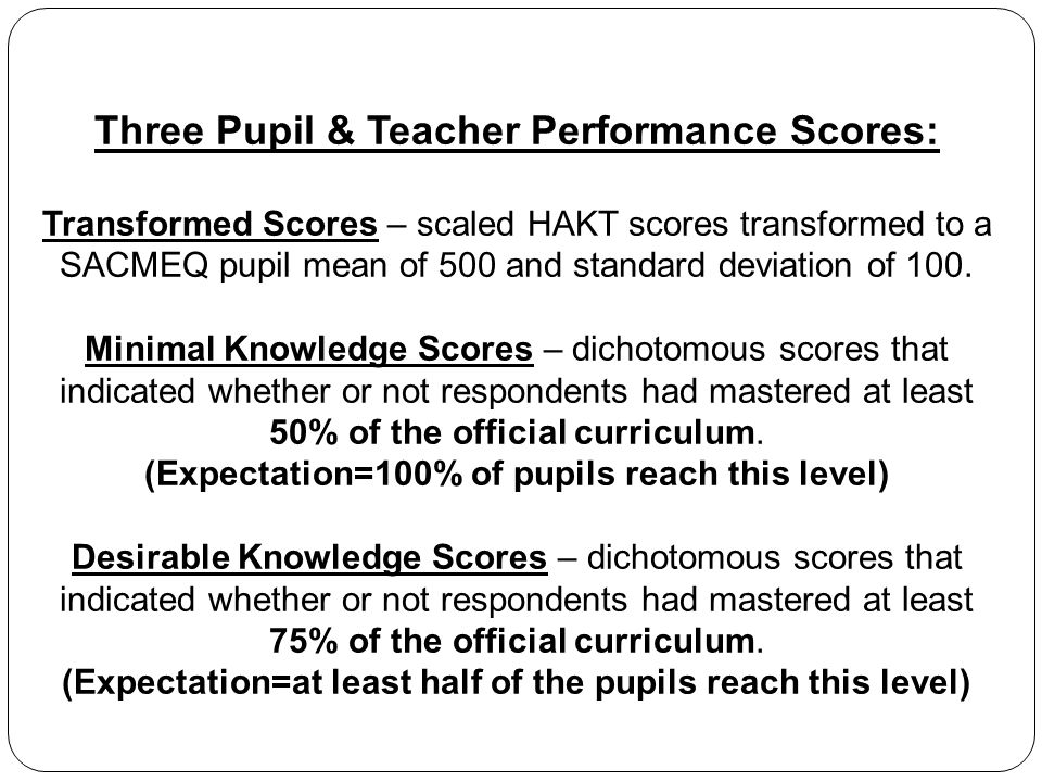 Three Pupil & Teacher Performance Scores: Transformed Scores – scaled HAKT scores transformed to a SACMEQ pupil mean of 500 and standard deviation of 100.