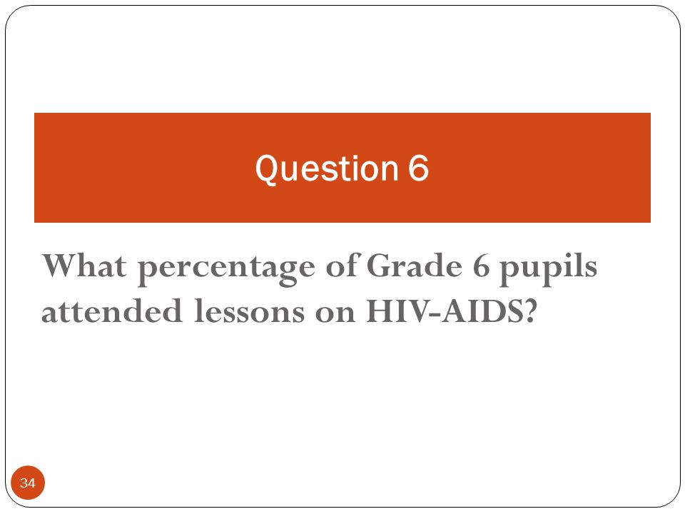 34 What percentage of Grade 6 pupils attended lessons on HIV-AIDS Question 6