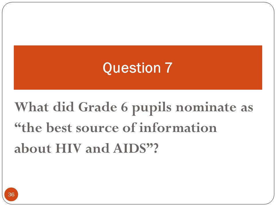 36 What did Grade 6 pupils nominate as the best source of information about HIV and AIDS .