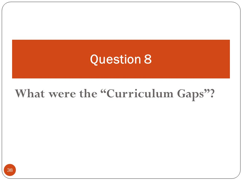 38 What were the Curriculum Gaps Question 8