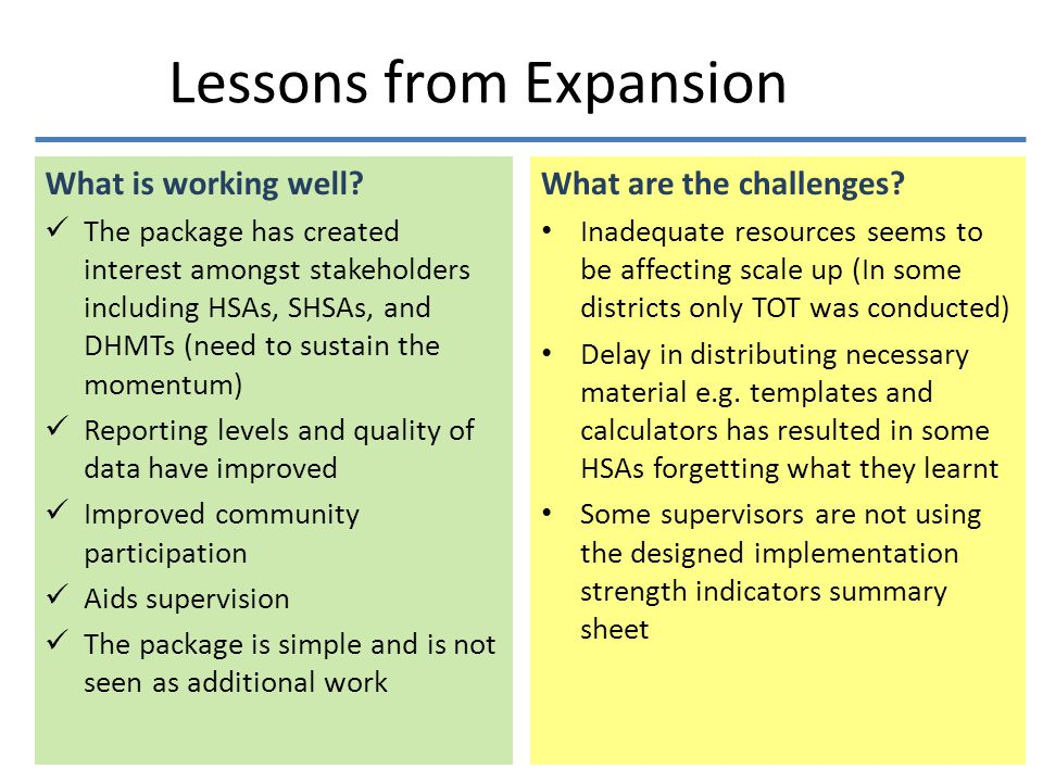 Lessons from Expansion What is working well.