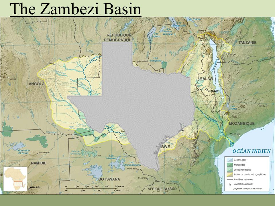Hydrography Arid to Semi-arid (600 to 1200 mm annual rainfall) Runoff of 7070 cmps into Indian Ocean (Amazon 175 000) Natural, cyclical flooding Lake Malawi Two very large Dams – Kariba/Cahora Bassa