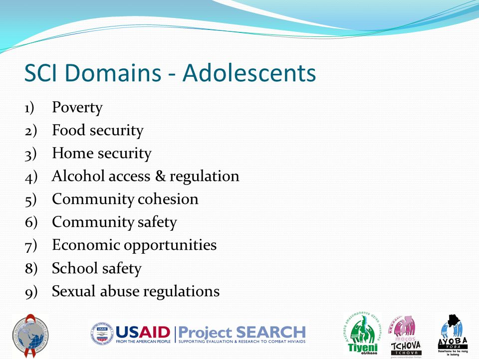 SCI Domains - Adolescents 1) Poverty 2) Food security 3) Home security 4) Alcohol access & regulation 5) Community cohesion 6) Community safety 7) Economic opportunities 8) School safety 9) Sexual abuse regulations