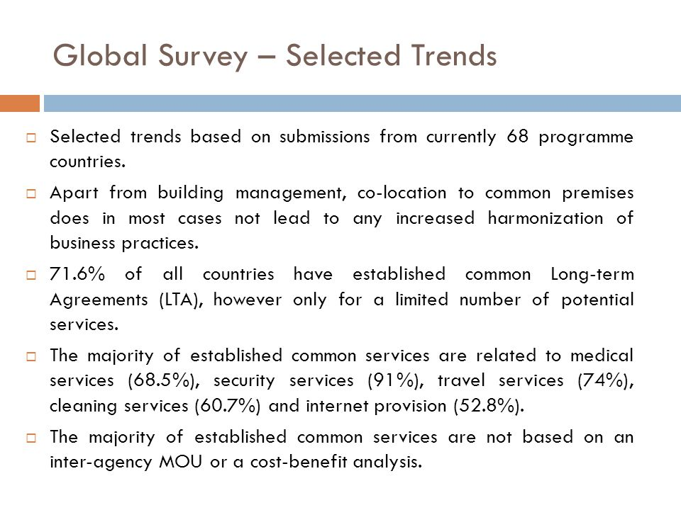 Global Survey – Selected Trends  Selected trends based on submissions from currently 68 programme countries.