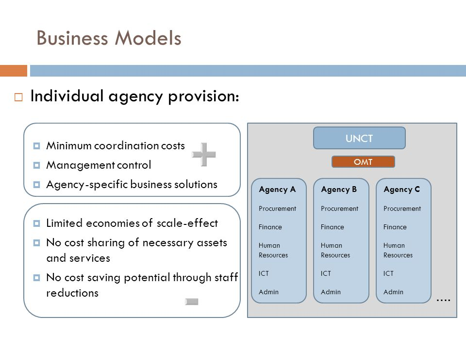 Business Models  Inter-agency harmonization of business practices:  Cost sharing opportunities  Economies of scale-effect  Process cost reduction  Very high coordination costs  Limited direct management control  Very long lead-times  Efficiency gains not directly leading to real cost reductions.