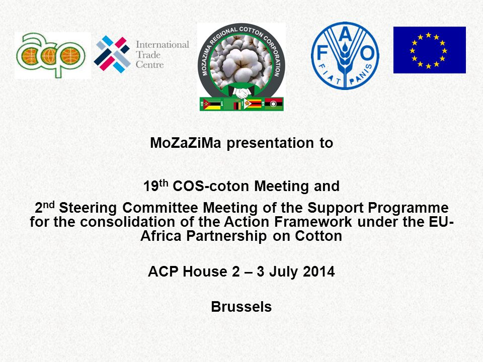 MoZaZiMa presentation to 19 th COS-coton Meeting and 2 nd Steering Committee Meeting of the Support Programme for the consolidation of the Action Framework under the EU- Africa Partnership on Cotton ACP House 2 – 3 July 2014 Brussels