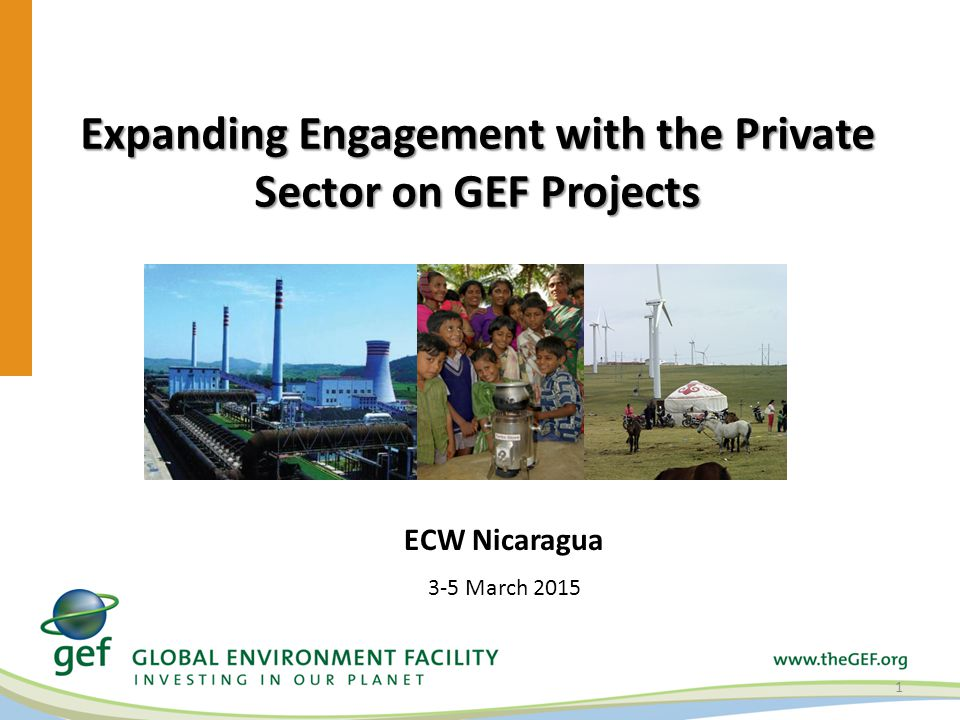 Expanding Engagement with the Private Sector on GEF Projects 1 ECW Nicaragua 3-5 March 2015