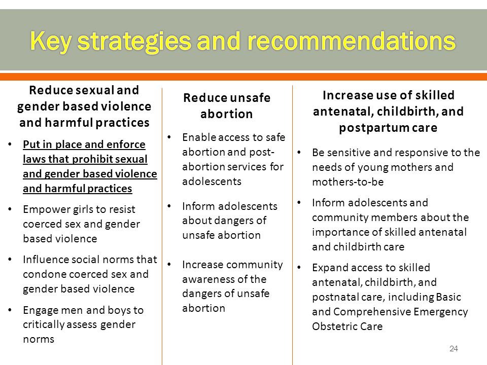24 Reduce sexual and gender based violence and harmful practices Put in place and enforce laws that prohibit sexual and gender based violence and harm