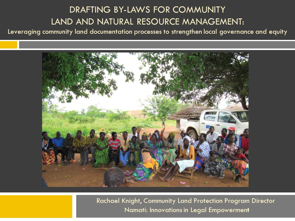 Mozambican findings underscore the importance of by-laws drafting process The Mozambican communities did not progress past a 1 st draft brainstorming of their rules  the Mozambican data does not show similarly positively impacts on intra-community governance.