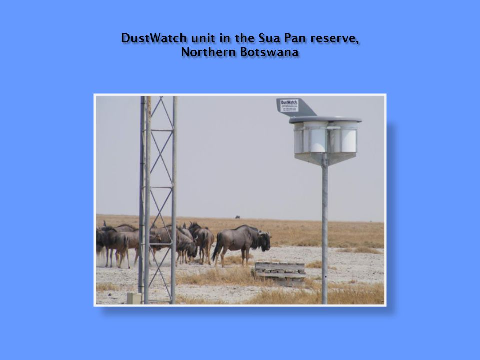DustWatch unit in the Sua Pan reserve, Northern Botswana