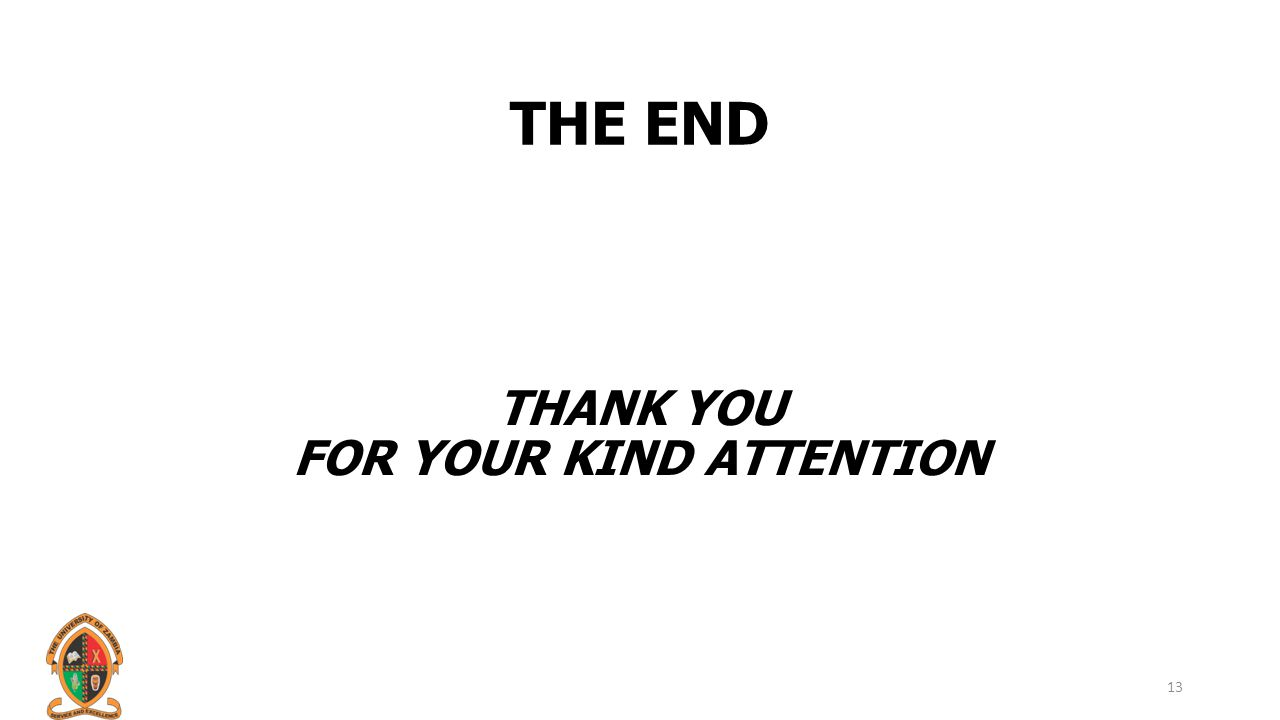 THE END THANK YOU FOR YOUR KIND ATTENTION 13