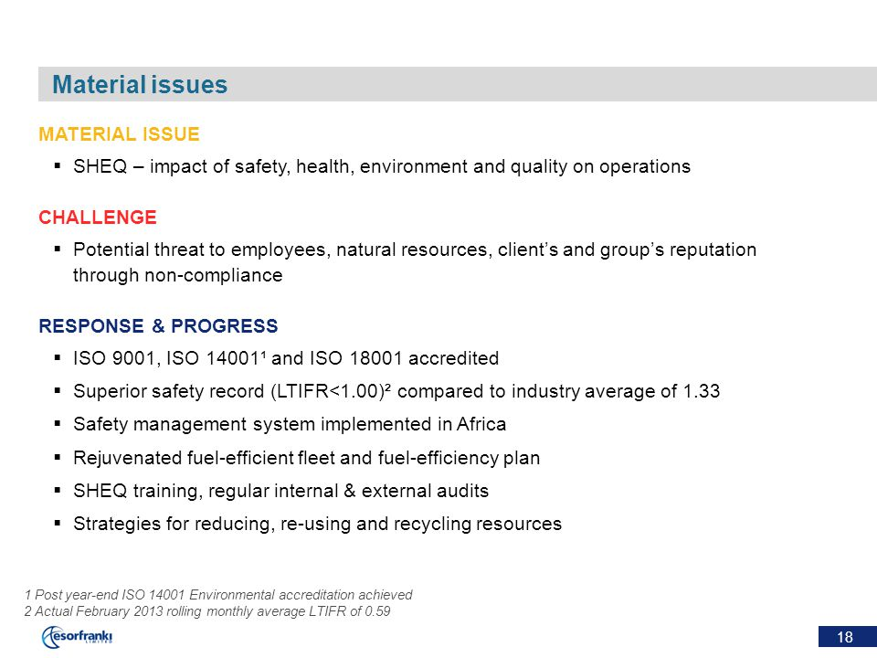 18 Material issues MATERIAL ISSUE  SHEQ – impact of safety, health, environment and quality on operations CHALLENGE  Potential threat to employees,
