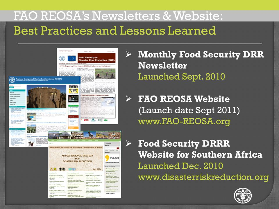  Monthly Food Security DRR Newsletter Launched Sept.