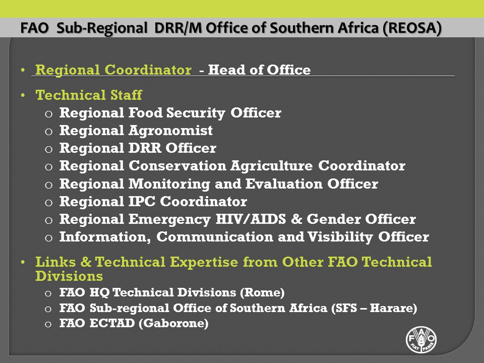 FAO Sub-Regional DRR/M Office of Southern Africa (REOSA) Regional Coordinator - Head of Office Technical Staff o Regional Food Security Officer o Regional Agronomist o Regional DRR Officer o Regional Conservation Agriculture Coordinator o Regional Monitoring and Evaluation Officer o Regional IPC Coordinator o Regional Emergency HIV/AIDS & Gender Officer o Information, Communication and Visibility Officer Links & Technical Expertise from Other FAO Technical Divisions o FAO HQ Technical Divisions (Rome) o FAO Sub-regional Office of Southern Africa (SFS – Harare) o FAO ECTAD (Gaborone)