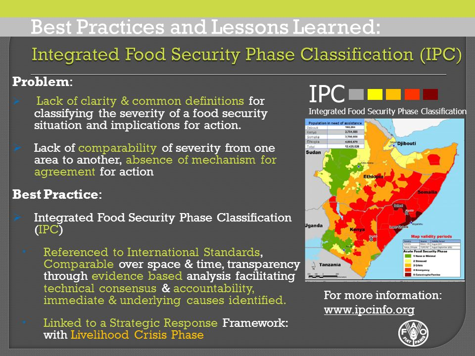 Problem:  Lack of clarity & common definitions for classifying the severity of a food security situation and implications for action.