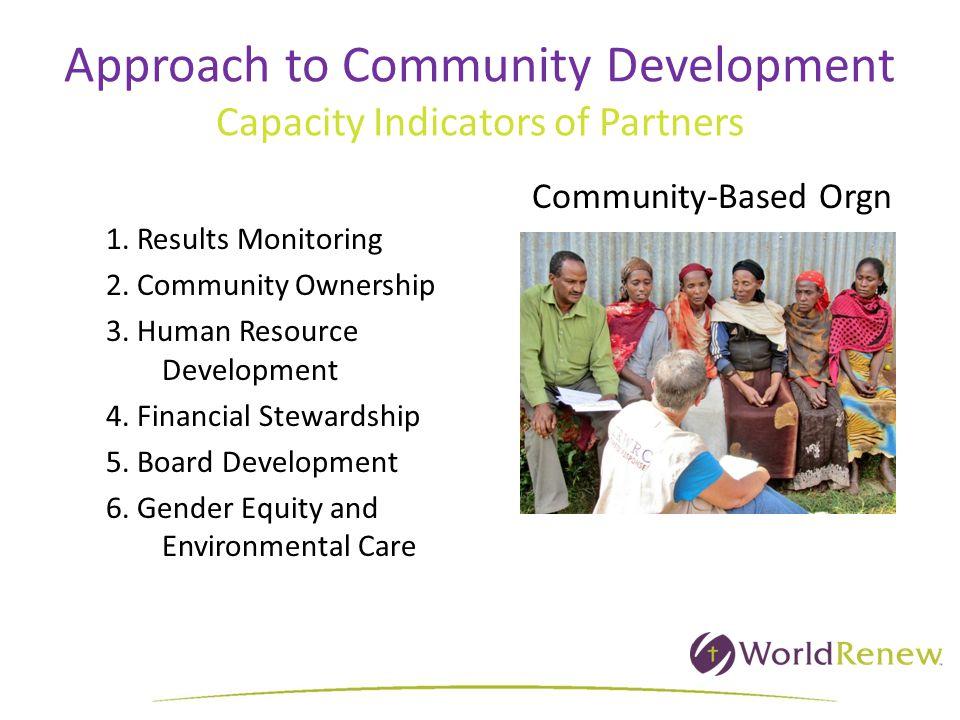 Approach to Community Development Capacity Indicators of Partners 1. Results Monitoring 2. Community Ownership 3. Human Resource Development 4. Financ