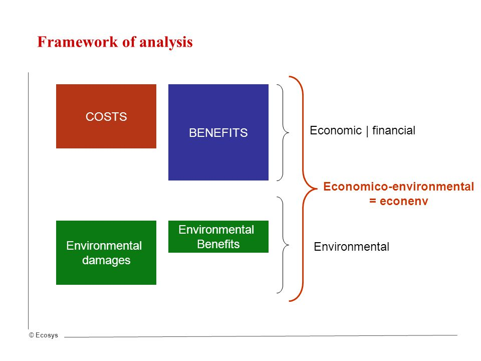 © Ecosys Framework of analysis COSTS BENEFITS Economic | financial Environmental damages Environmental Benefits Environmental Economico-environmental = econenv