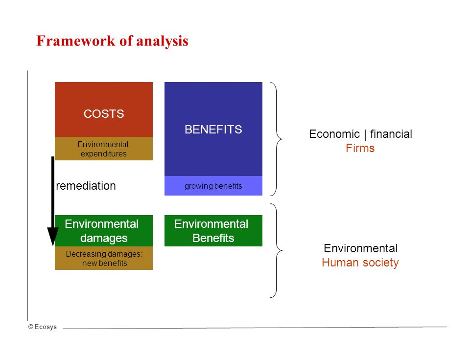 © Ecosys COSTS BENEFITS Economic | financial Firms Environmental damages Environmental Benefits Environmental Human society growing benefits remediation Decreasing damages: new benefits Environmental expenditures Framework of analysis