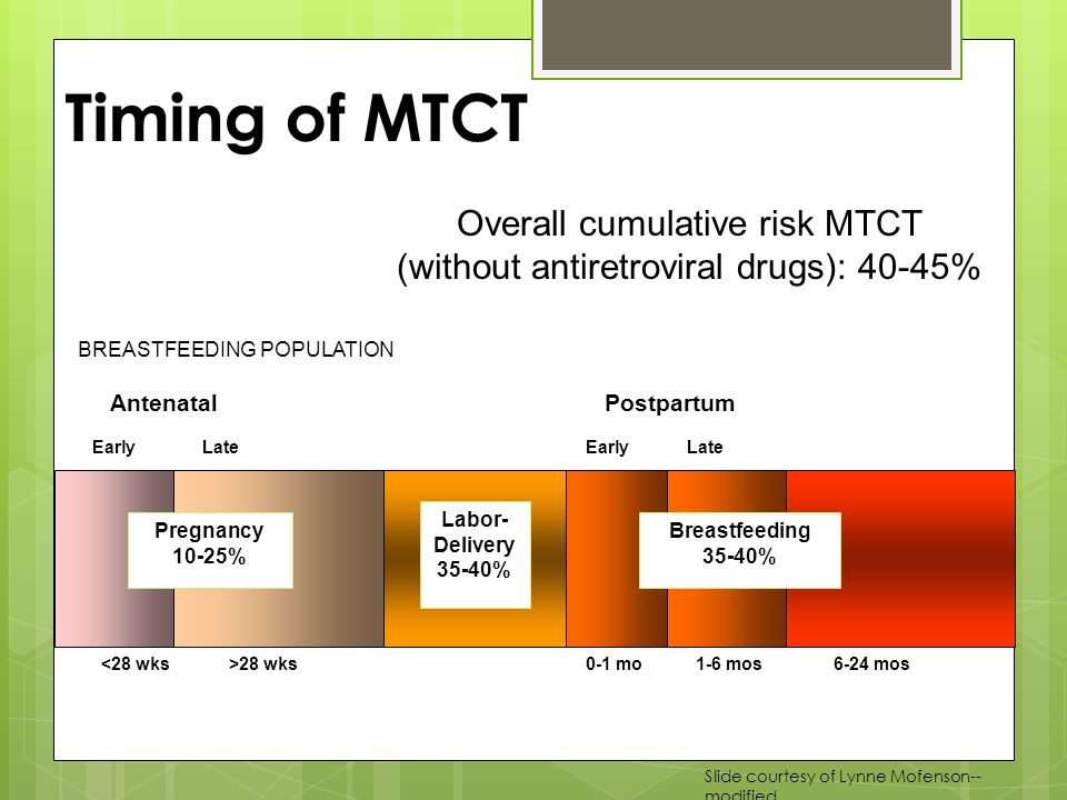 BREASTFEEDING POPULATION Overall cumulative risk MTCT (without antiretroviral drugs): 40-45% Timing of MTCT >28 wks Labor- Delivery 35-40% 1-6 mos6-24