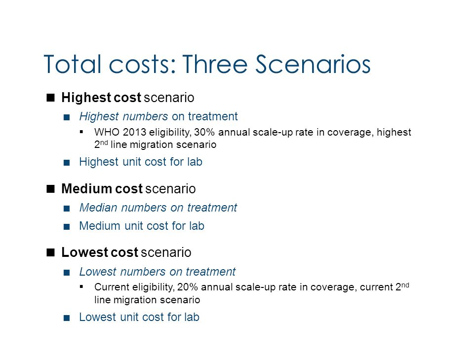  Highest cost scenario  Highest numbers on treatment  WHO 2013 eligibility, 30% annual scale-up rate in coverage, highest 2 nd line migration scenario  Highest unit cost for lab  Medium cost scenario  Median numbers on treatment  Medium unit cost for lab  Lowest cost scenario  Lowest numbers on treatment  Current eligibility, 20% annual scale-up rate in coverage, current 2 nd line migration scenario  Lowest unit cost for lab Total costs: Three Scenarios