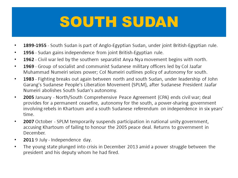 SOUTH SUDAN 1899-1955 - South Sudan is part of Anglo-Egyptian Sudan, under joint British-Egyptian rule.