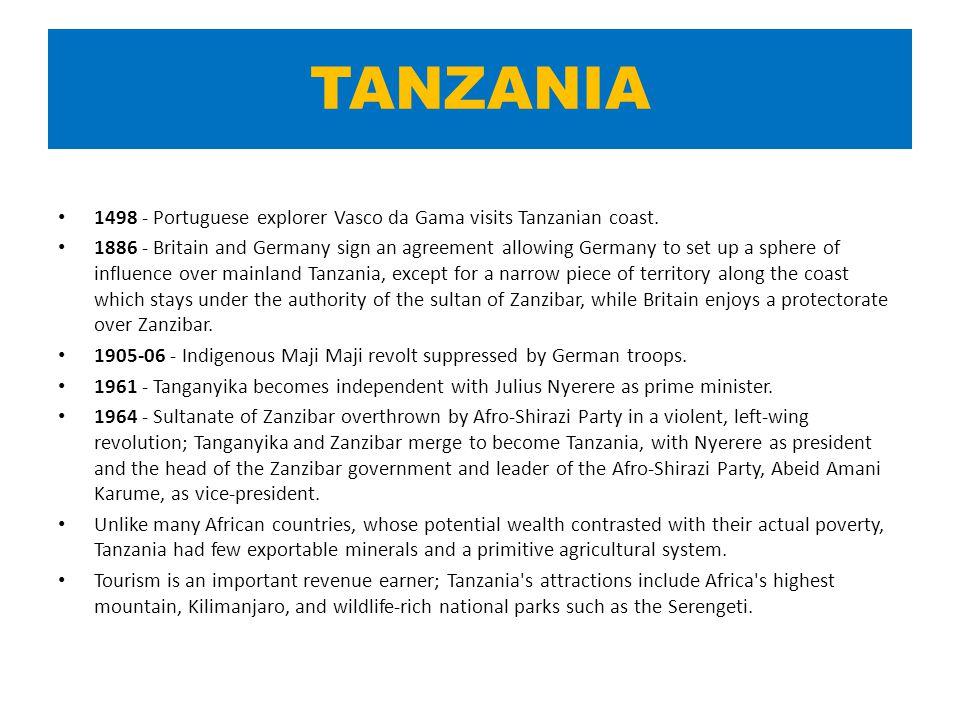 TANZANIA 1498 - Portuguese explorer Vasco da Gama visits Tanzanian coast.