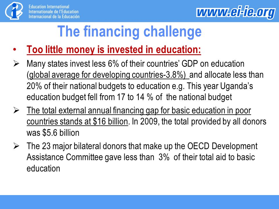 The financing challenge Too little money is invested in education:  Many states invest less 6% of their countries' GDP on education (global average for developing countries-3.8%) and allocate less than 20% of their national budgets to education e.g.