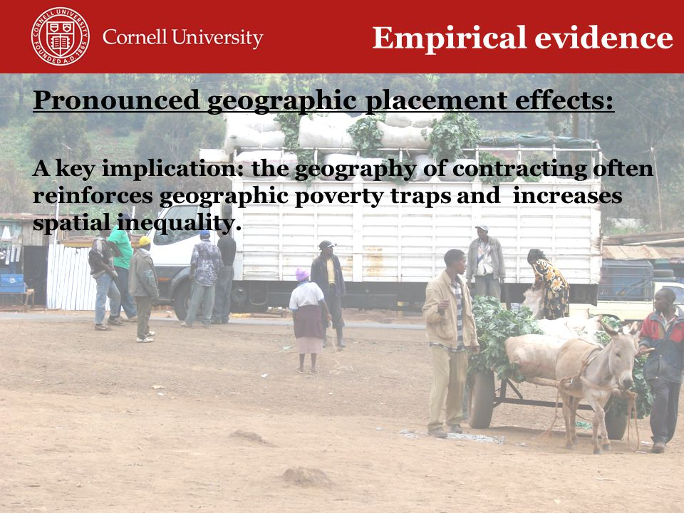 Pronounced geographic placement effects: A key implication: the geography of contracting often reinforces geographic poverty traps and increases spatial inequality.