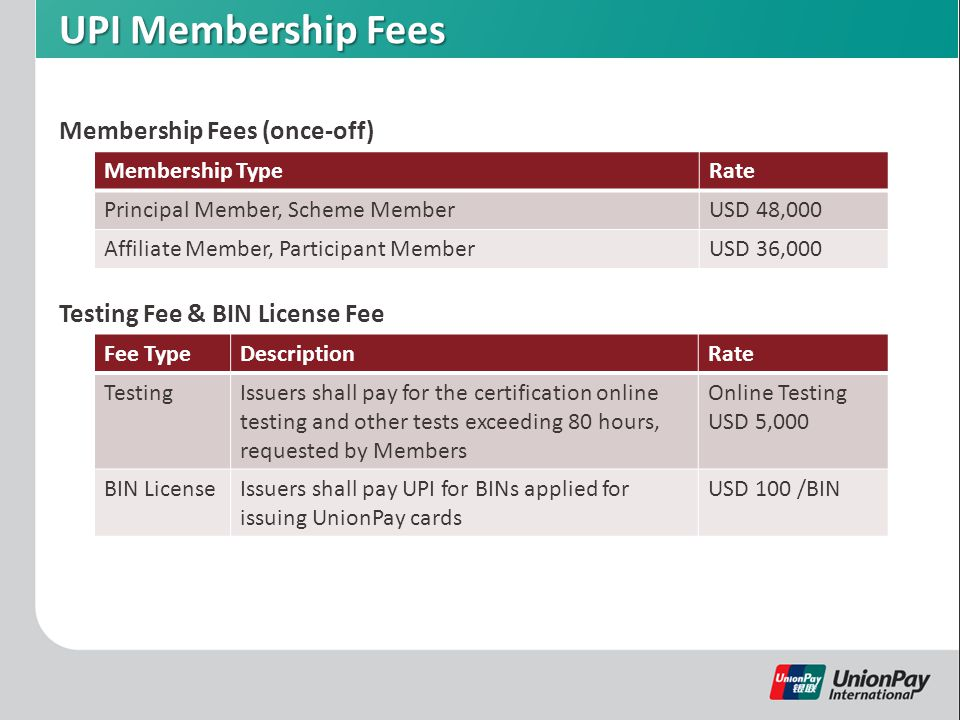 UPI Membership Fees Membership Fees (once-off) Membership TypeRate Principal Member, Scheme MemberUSD 48,000 Affiliate Member, Participant MemberUSD 36,000 Testing Fee & BIN License Fee Fee TypeDescriptionRate TestingIssuers shall pay for the certification online testing and other tests exceeding 80 hours, requested by Members Online Testing USD 5,000 BIN LicenseIssuers shall pay UPI for BINs applied for issuing UnionPay cards USD 100 /BIN