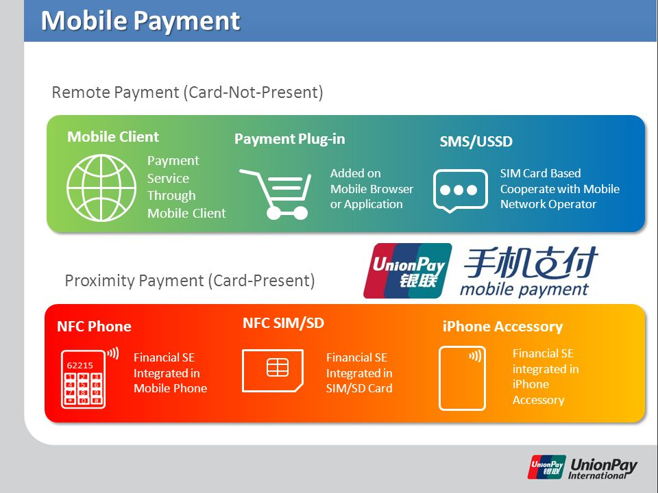 Mobile Payment Remote Payment (Card-Not-Present) Proximity Payment (Card-Present) Mobile Client Payment Plug-in Payment Service Through Mobile Client Added on Mobile Browser or Application SMS/USSD SIM Card Based Cooperate with Mobile Network Operator NFC SIM/SD iPhone AccessoryNFC Phone Financial SE integrated in iPhone Accessory Financial SE Integrated in SIM/SD Card Financial SE Integrated in Mobile Phone