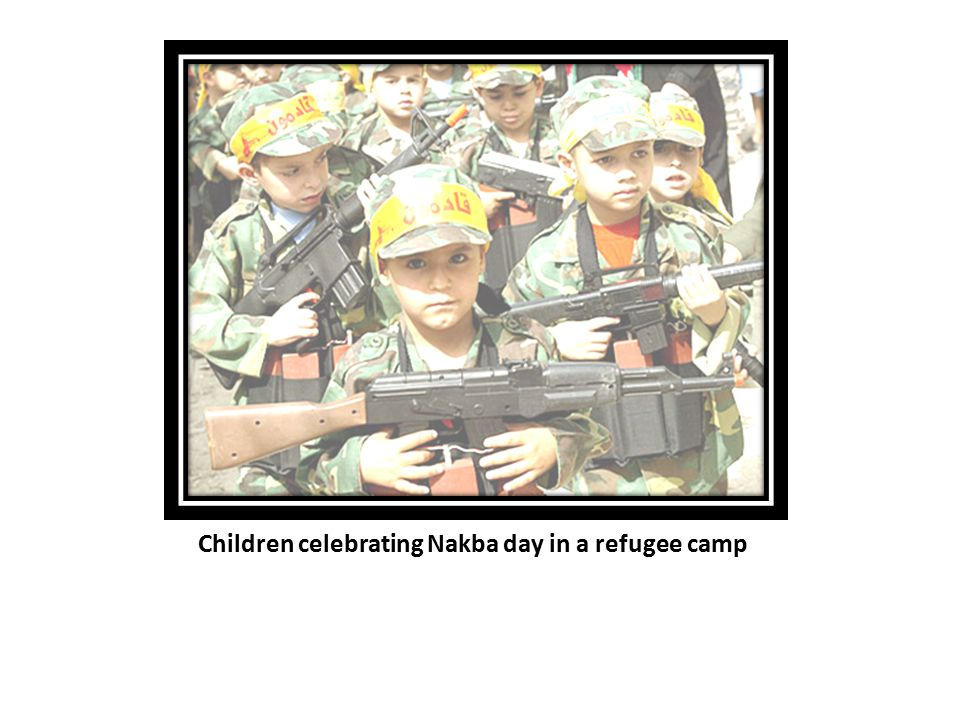 Children celebrating Nakba day in a refugee camp