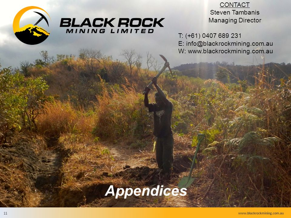 CONTACT Steven Tambanis Managing Director T: (+61) 0407 689 231 E: info@blackrockmining.com.au W: www.blackrockmining.com.au Appendices www.blackrockmining.com.au11